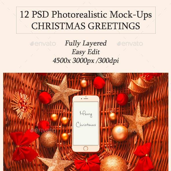 12 Christmas Greetings Mock-Ups