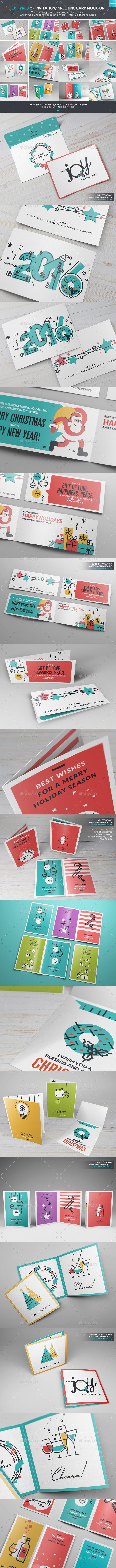 10 Types Of Invitation Greeting Card Mock Up By Wutip