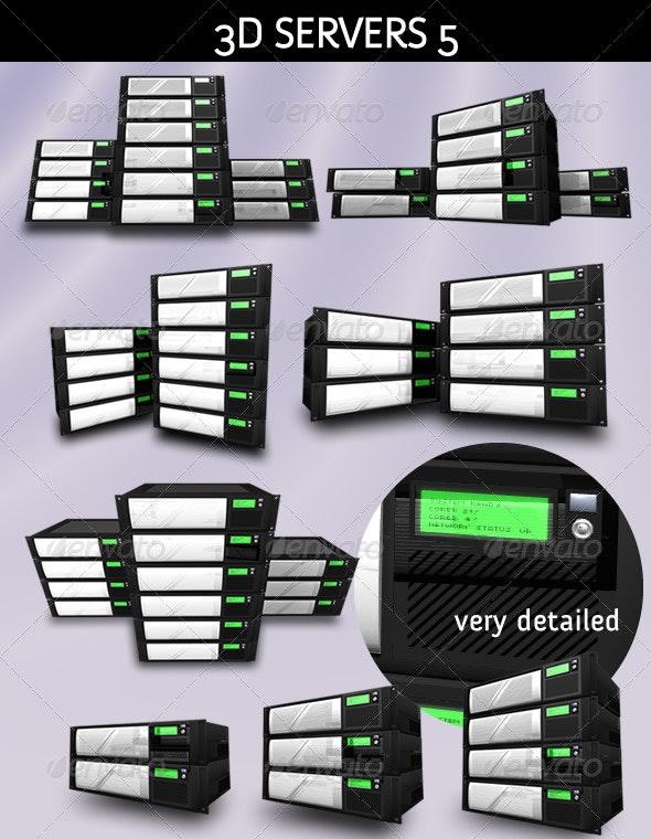 3D Servers - Pack 5 - Hosting Solution - 3D Backgrounds