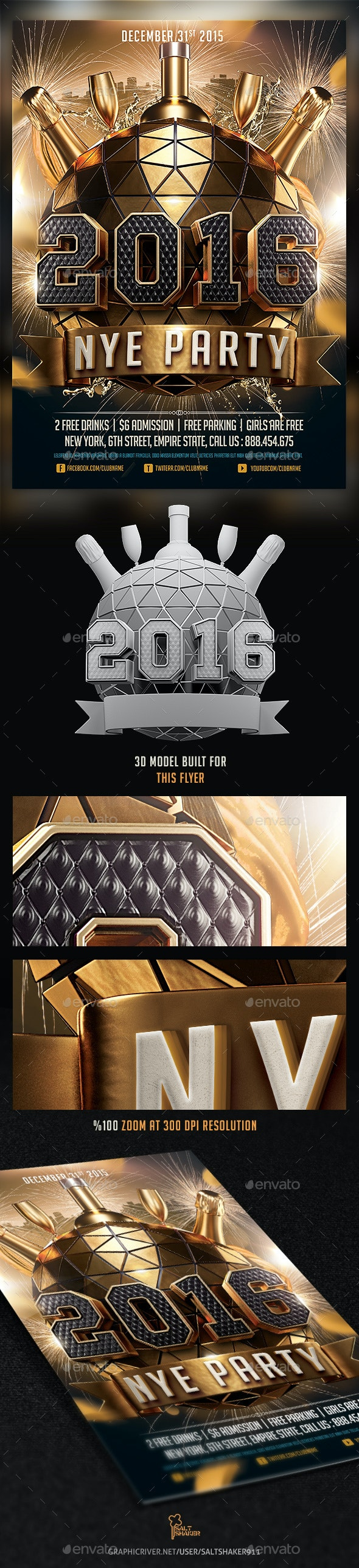 2016 New Years Eve NYE Flyer Template - Holidays Events
