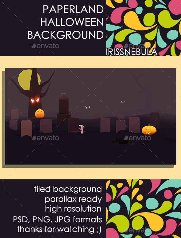 Paperland Halloween Game Background - Backgrounds Game Assets