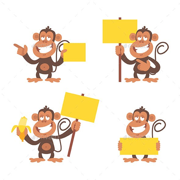 Monkey and Blank Placard