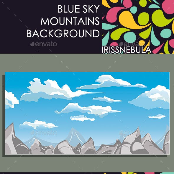 Blue Sky Mountains Background
