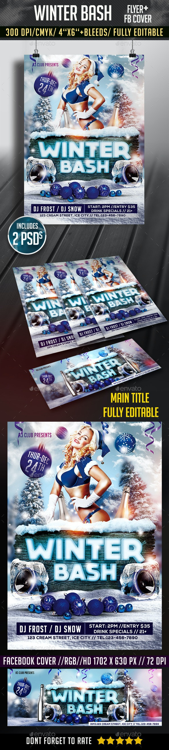 Winter Bash Flyer + FB Cover - Clubs & Parties Events