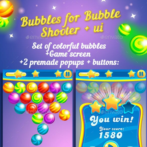 Bubbles For Bubble Shooter Game + UI kit