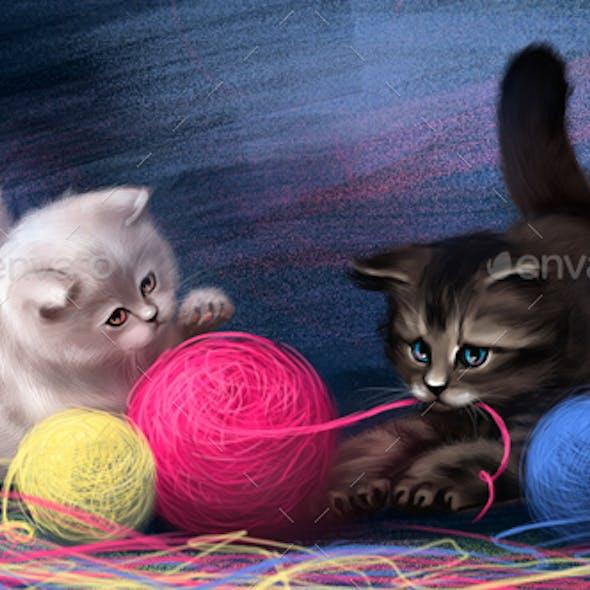 Drawn Cute Kittens