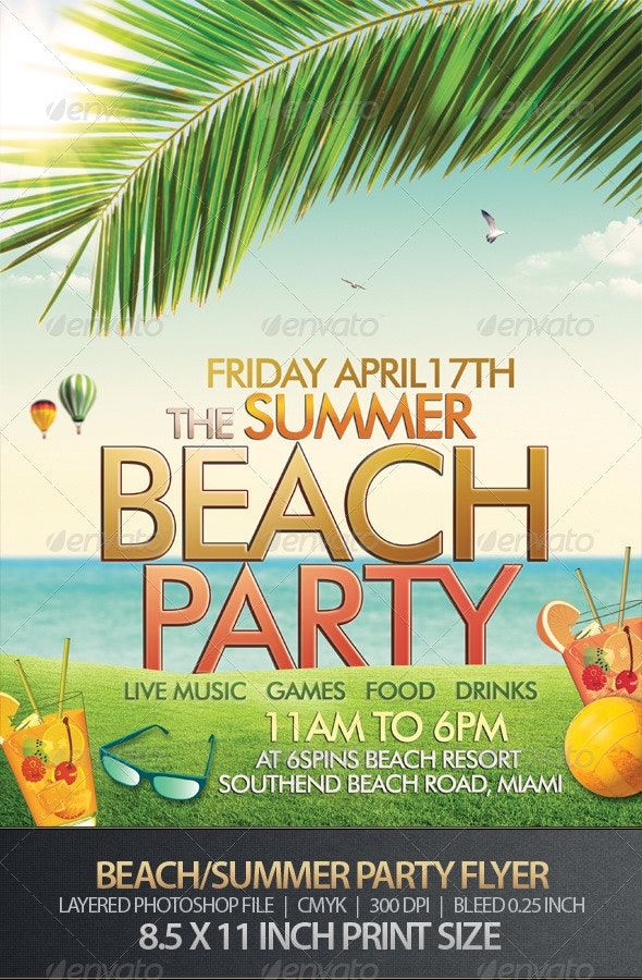 Beach or Summer Party Flyer - Clubs & Parties Events