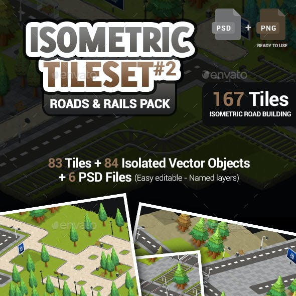 Isometric Tileset #2 - Roads & Rails Pack