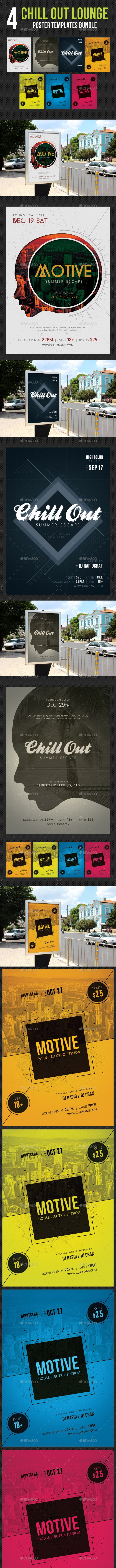 4 in 1 Chill Out Lounge Poster Bundle - Signage Print Templates