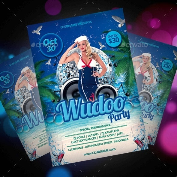 Wudoo Beach Party Flyer - Clubs & Parties Events