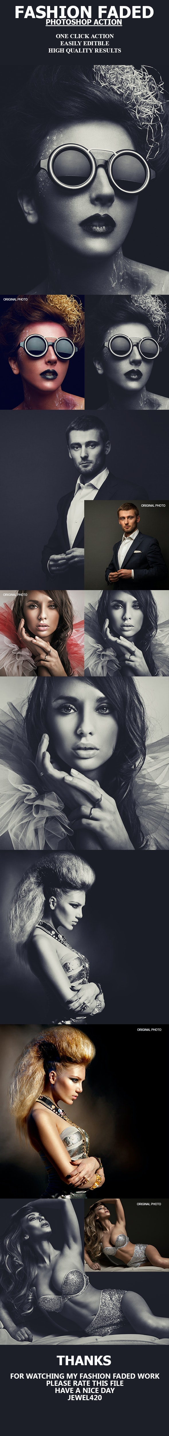 Fashion Faded Photoshop Action - Photo Effects Actions
