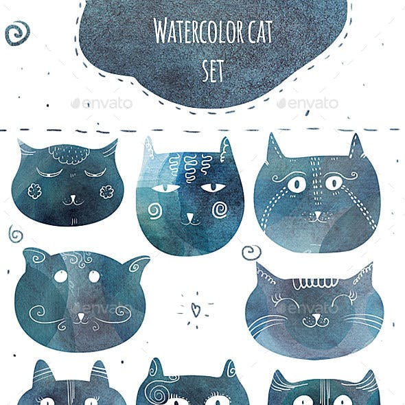 Fun Watercolor Cats Silhouettes