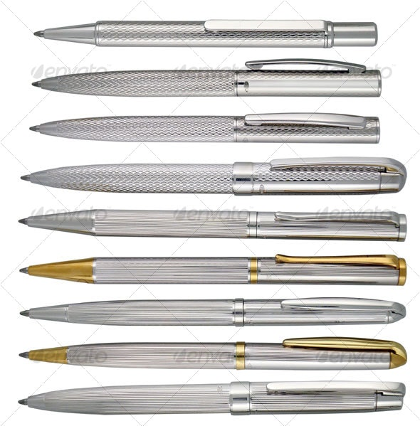 Silver Writing Pens - Home & Office Isolated Objects