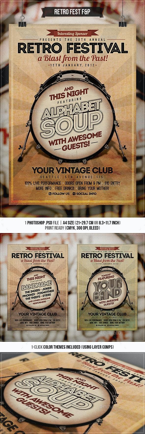 Retro Festival Flyer & Poster - Concerts Events