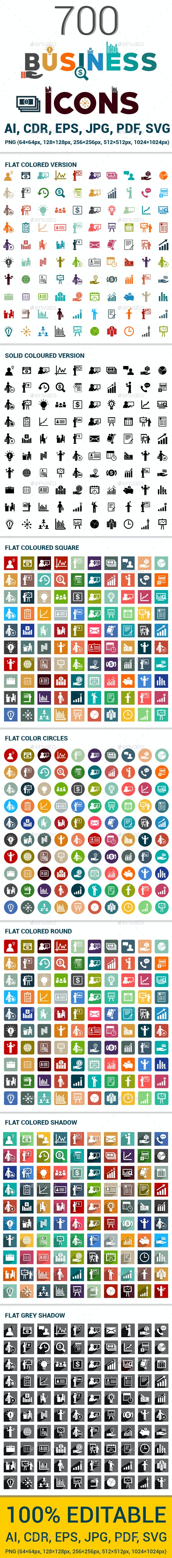 700 Flat Business Icons - Business Icons
