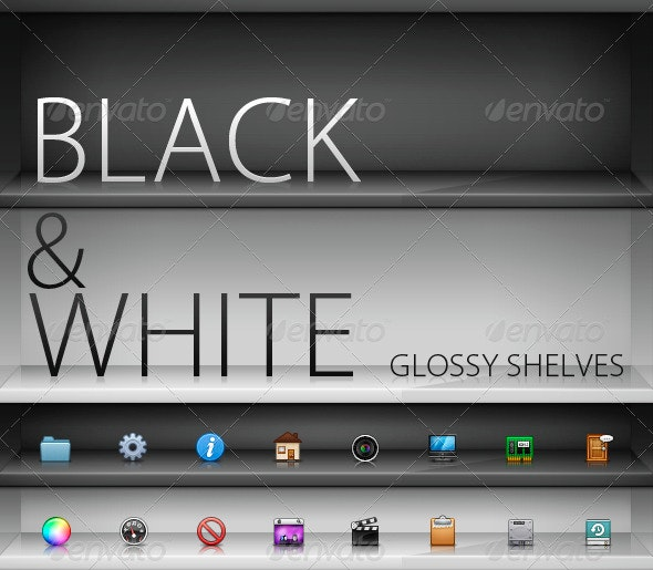 Black and White Glass Shelves - Miscellaneous Graphics