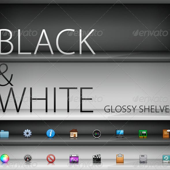 Black and White Glass Shelves