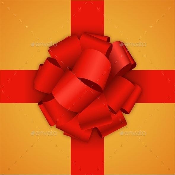 Red Bow on Orange Background - Christmas Seasons/Holidays