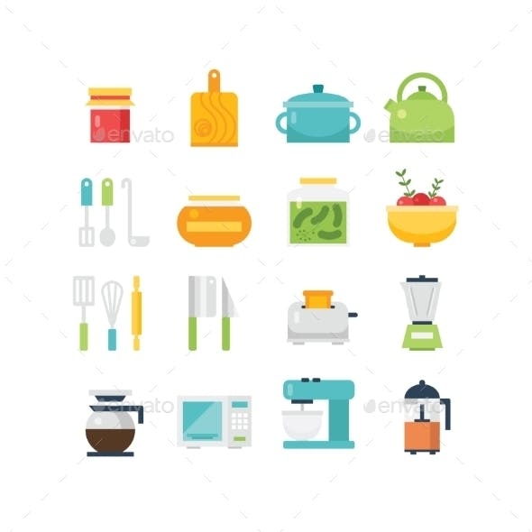 Kitchen Themed Illustration And Icons