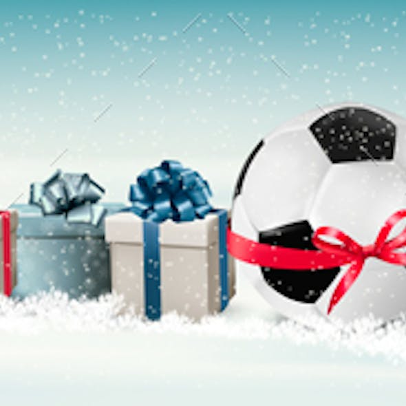 Holiday Banner with a Gift Boxes and Soccer Ball