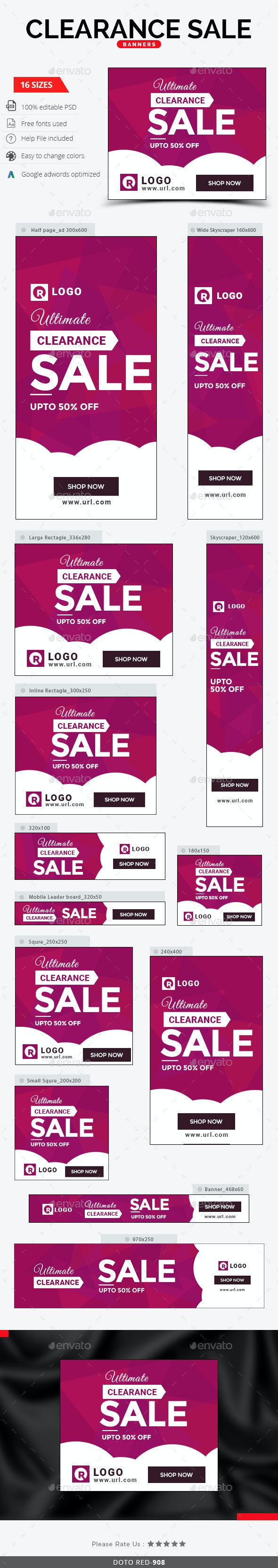 Clearance Sale Banners - Banners & Ads Web Elements