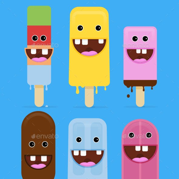 6 Ice Cream with Crazy Smile Vector