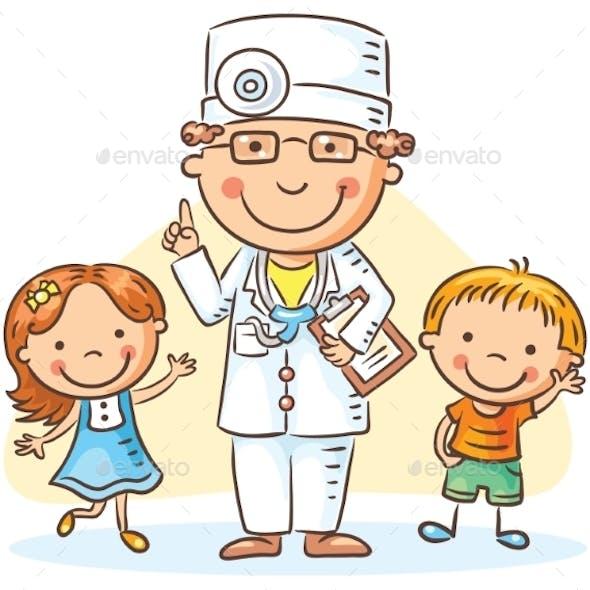 Cartoon Doctor With Happy Little Children, a Boy