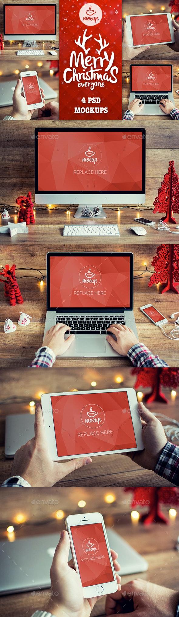 4 PSD Christmas Mockups - iMac, Macbook, iPad, iPhone - Displays Product Mock-Ups