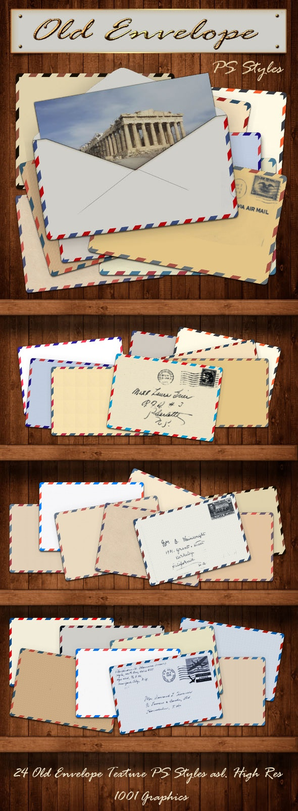 24 Old Envelope PS Styles - Photoshop Add-ons