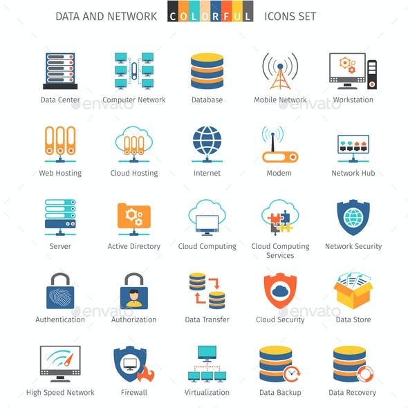 Data And Network Colorful Icons