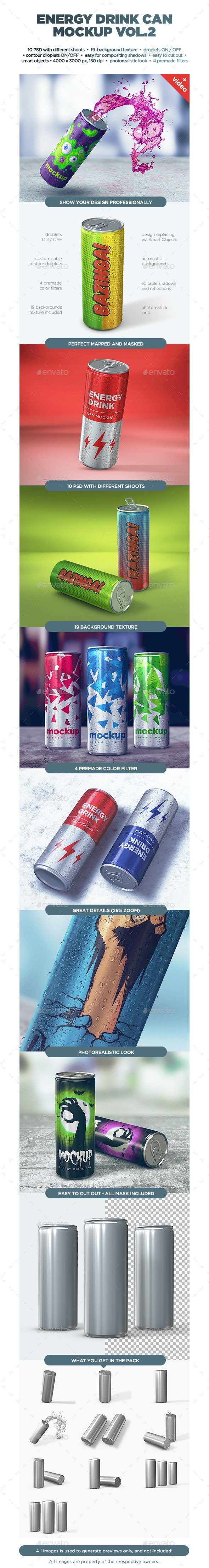 Energy Drink Can Mockup vol.2 - Food and Drink Packaging