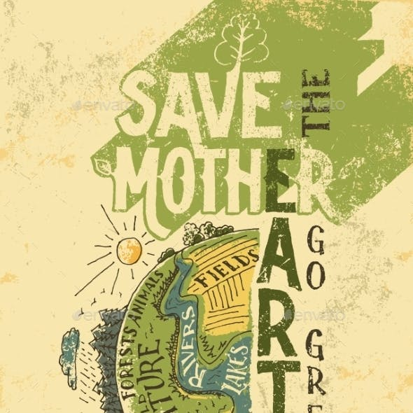 Save  Mother Earth Concept Eco Poster