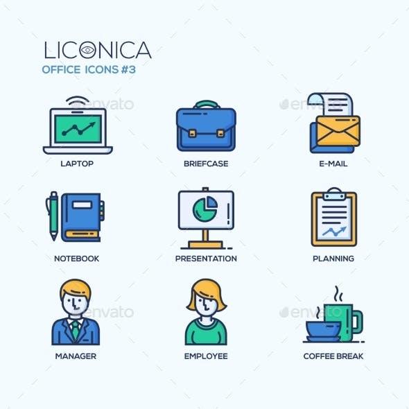 Set Of Modern Office Thin Line Flat Design Icons