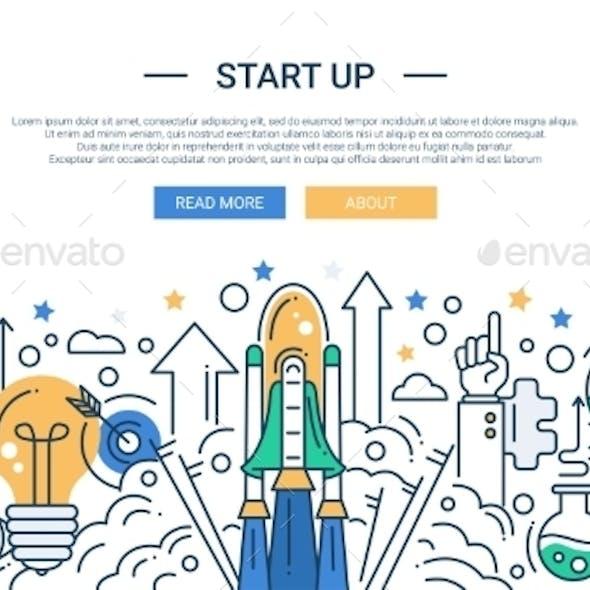 Start Up Line Flat Design Illustration