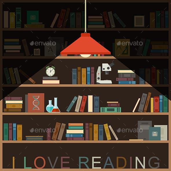 Bookshelf and Lighting Lamp