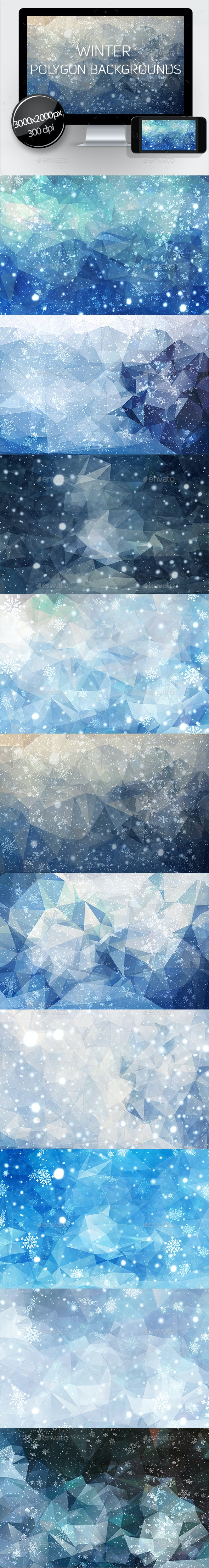 Winter Polygon Backgrounds - Abstract Backgrounds