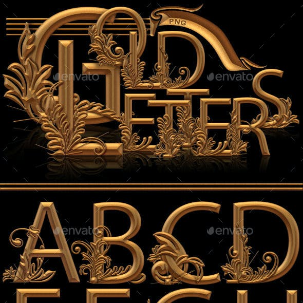 Gold PNG Letters