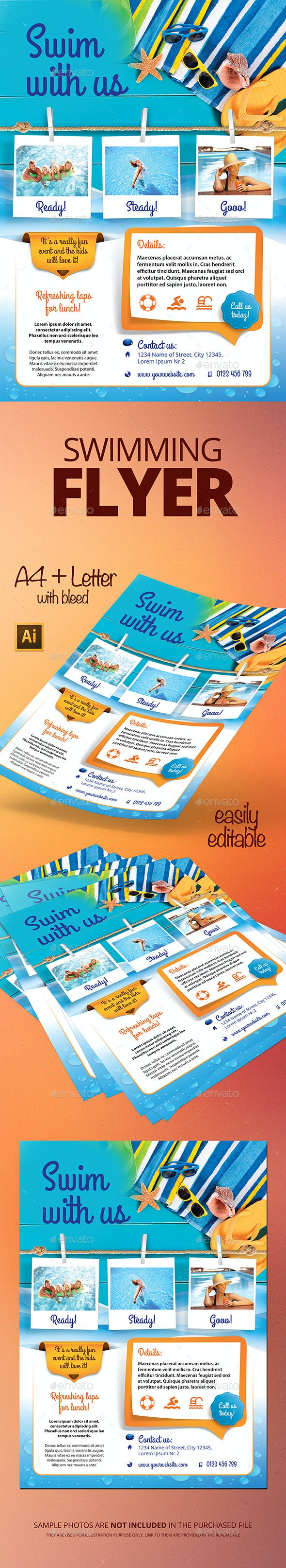 Swimming Flyer - Flyers Print Templates