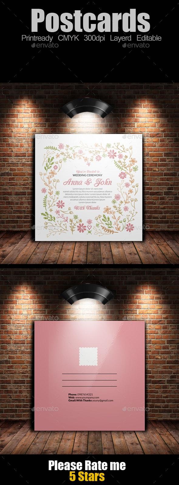 Square Wedding Postcard - Weddings Cards & Invites