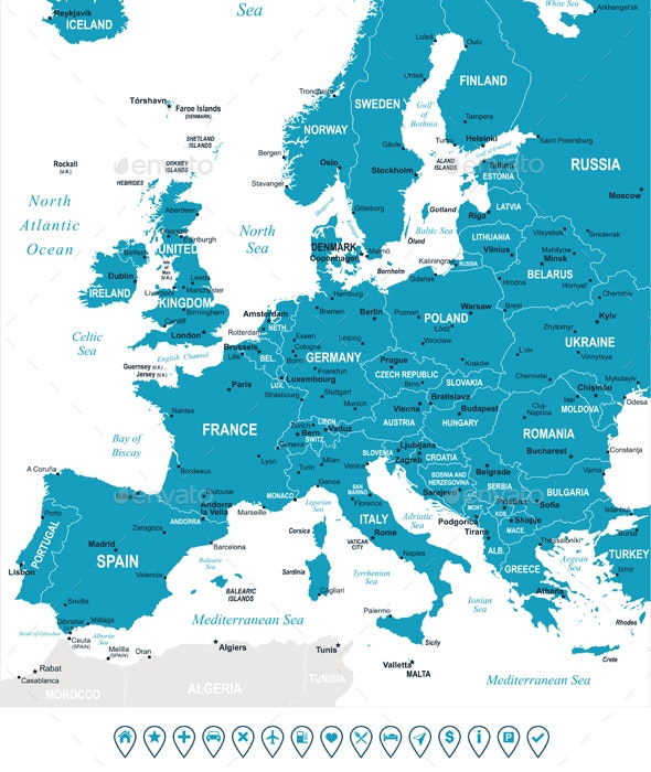 Europe Map and Navigation Labels. Murena.  - Travel Conceptual