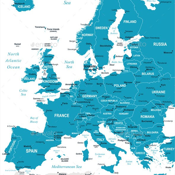 Europe Map and Navigation Labels. Murena.