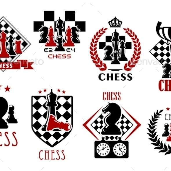 Chess Game Heraldic Symbols and Emblems
