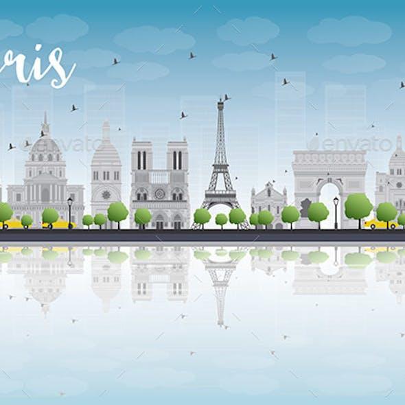 Paris Skyline with Gray Landmarks and Blue Sky