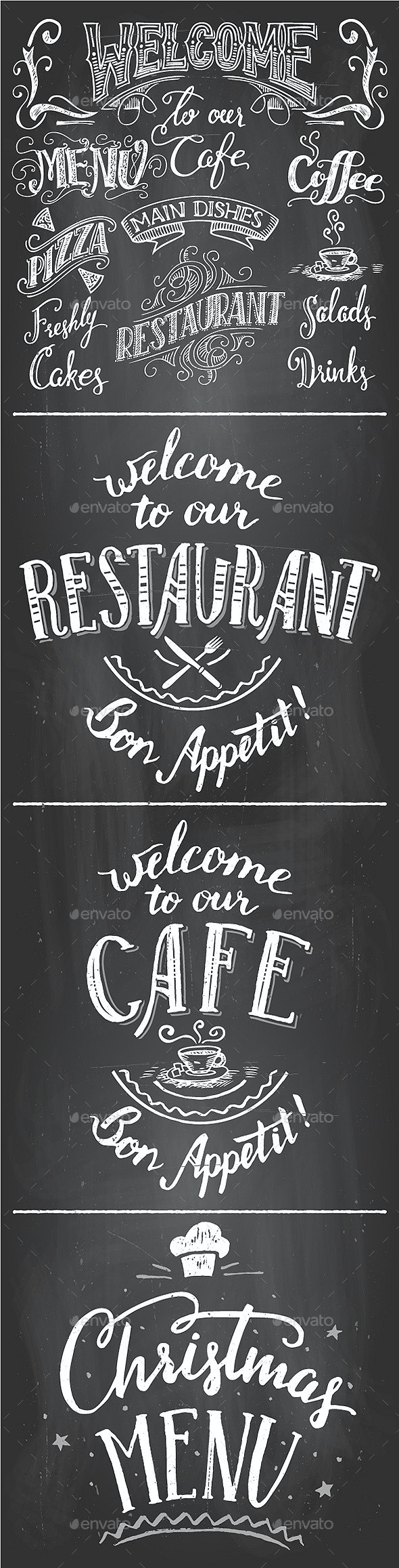 Restaurant and Cafe Chalkboard Printables Set - Food Objects