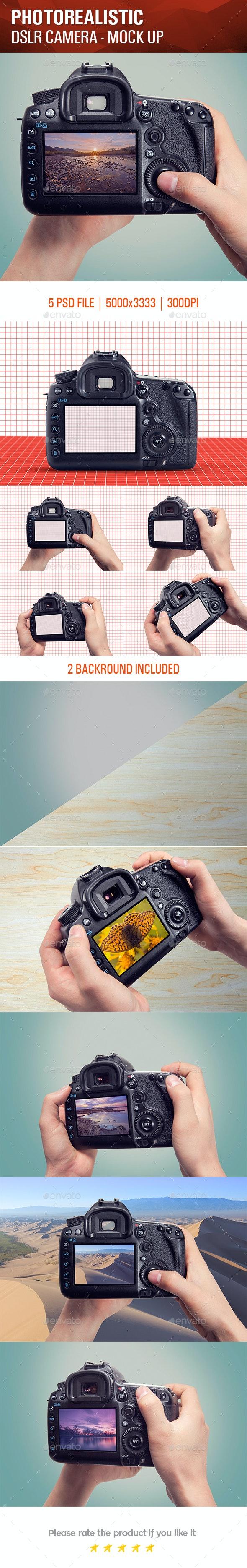Photorealistic DSLR Camera Mock Up - Product Mock-Ups Graphics