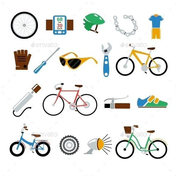 Bicycle, Bike Vector Flat Icons Set