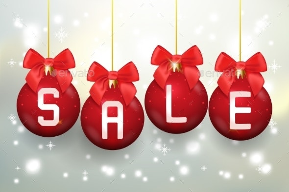 Merry Christmas Sale Poster With Balls