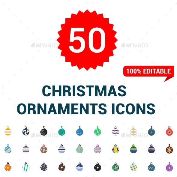 50 Flat Christmas Ball Icons