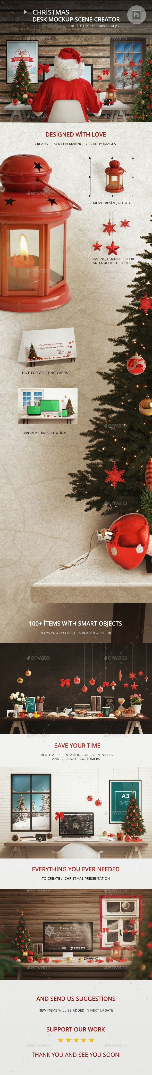 Christmas Desk Mockup Scene Creator - Hero Images Graphics