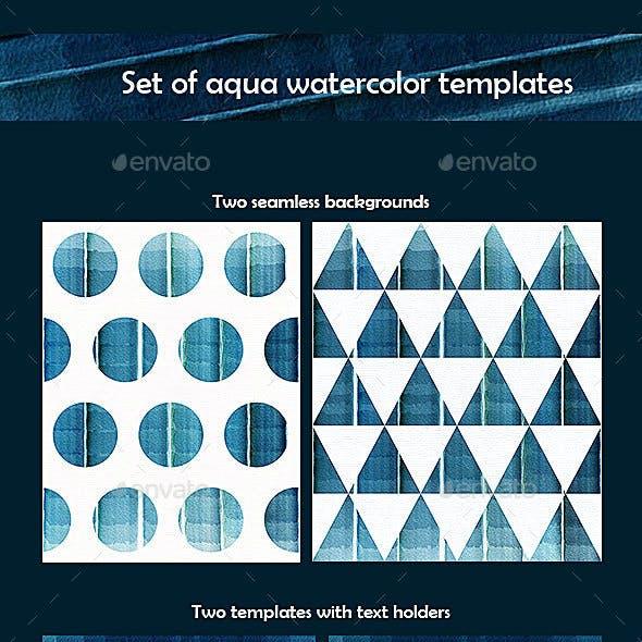 Watercolor Aqua Backgrounds Set